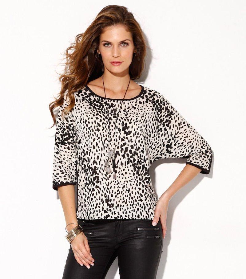 Blusa mujer manga 3/4 estampado leopardo