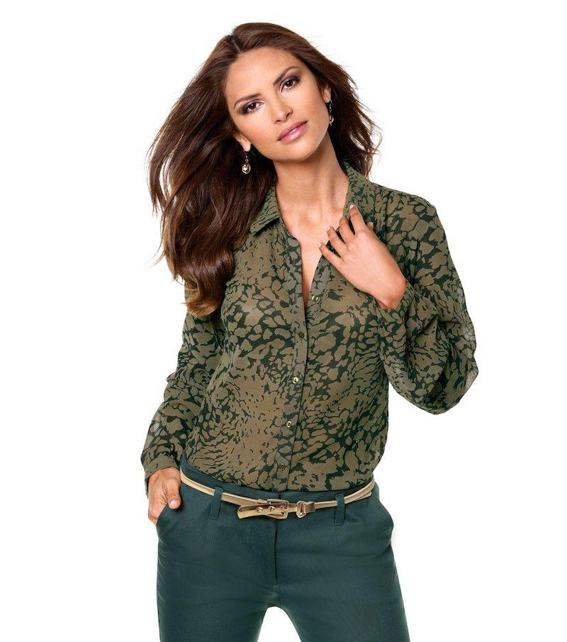 Blusa mujer estampada tejido semitransparente