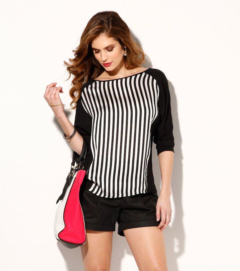 Blusa mujer bicolor manga 3/4 rayas corte asimétrico - Negro