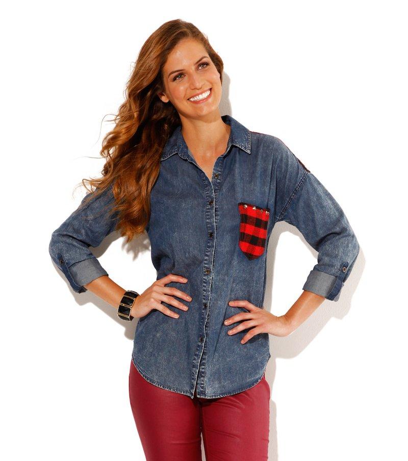 Camisa vaquera de manga larga regulable