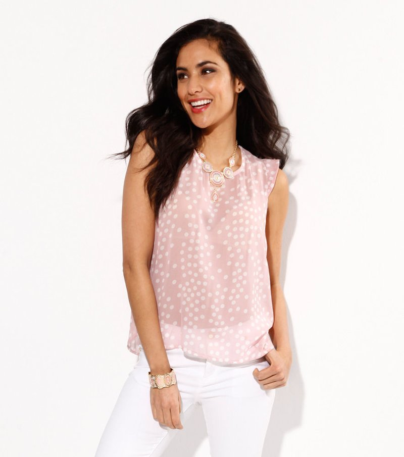 Blusa mujer manga corta estampada topos rosa