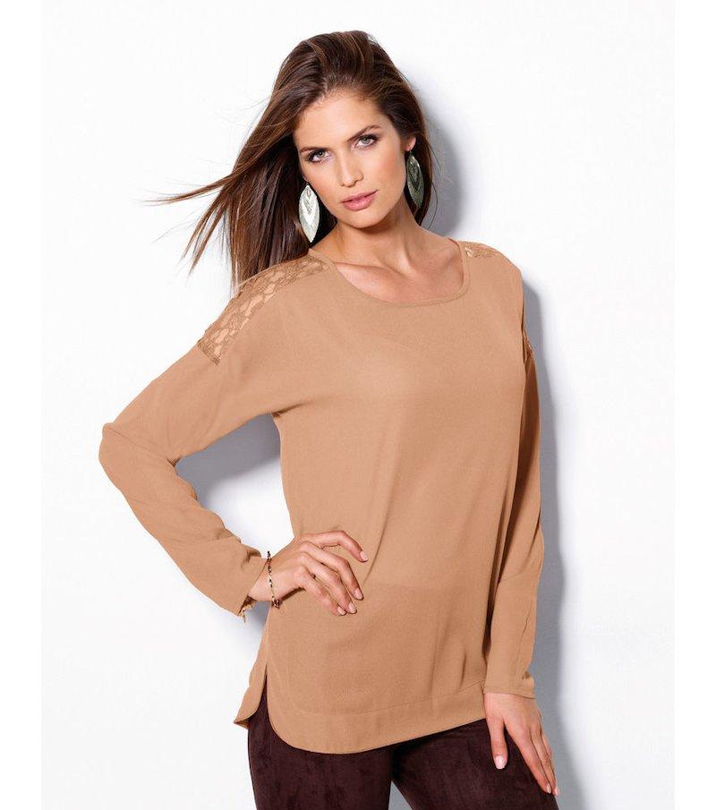 Blusa mujer manga larga con encaje