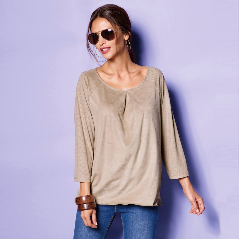 Blusa mujer manga larga de antelina