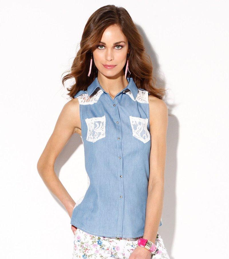 Camisa vaquera con encaje - Azul