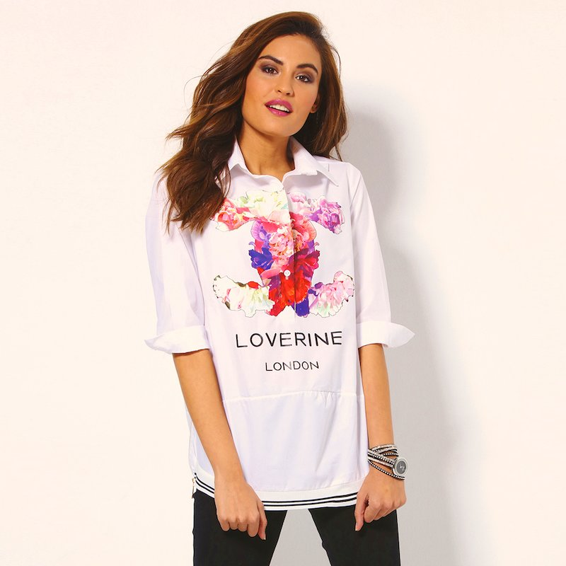 Camisa mujer manga 3/4 con estampación floral
