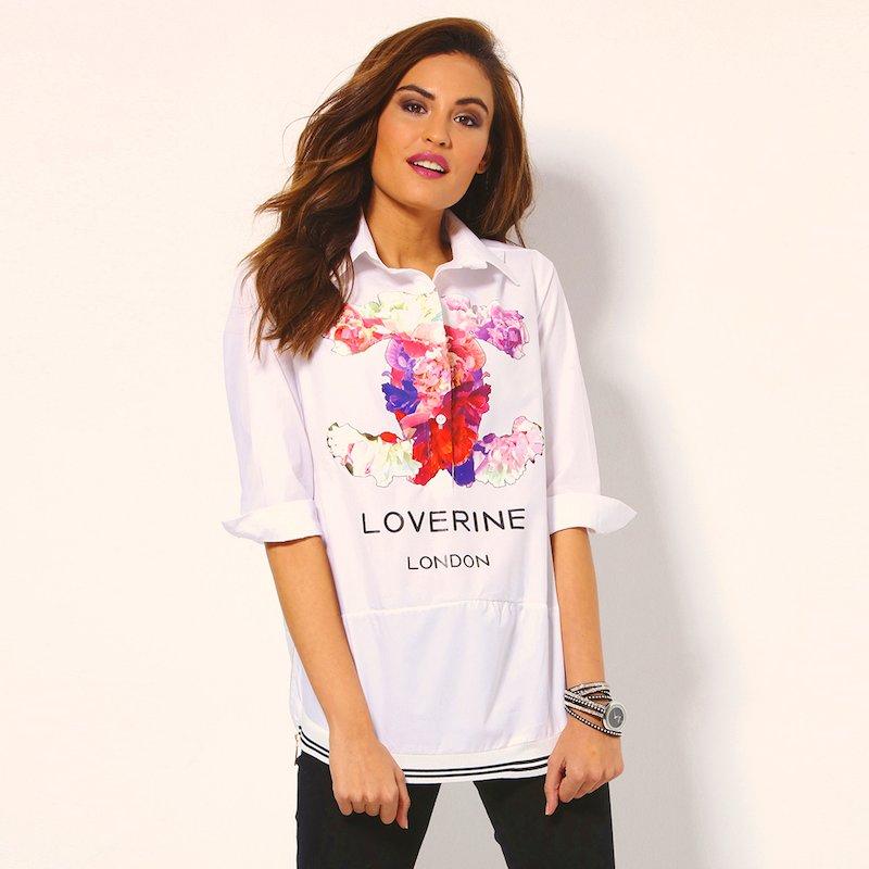 Camisa mujer manga 3/4 con estampación floral - Blanco