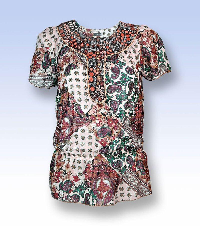 Blusa mujer manga larga con lazo - Multicolor