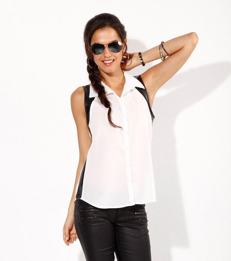 Camisa de vestir sin mangas con símil piel