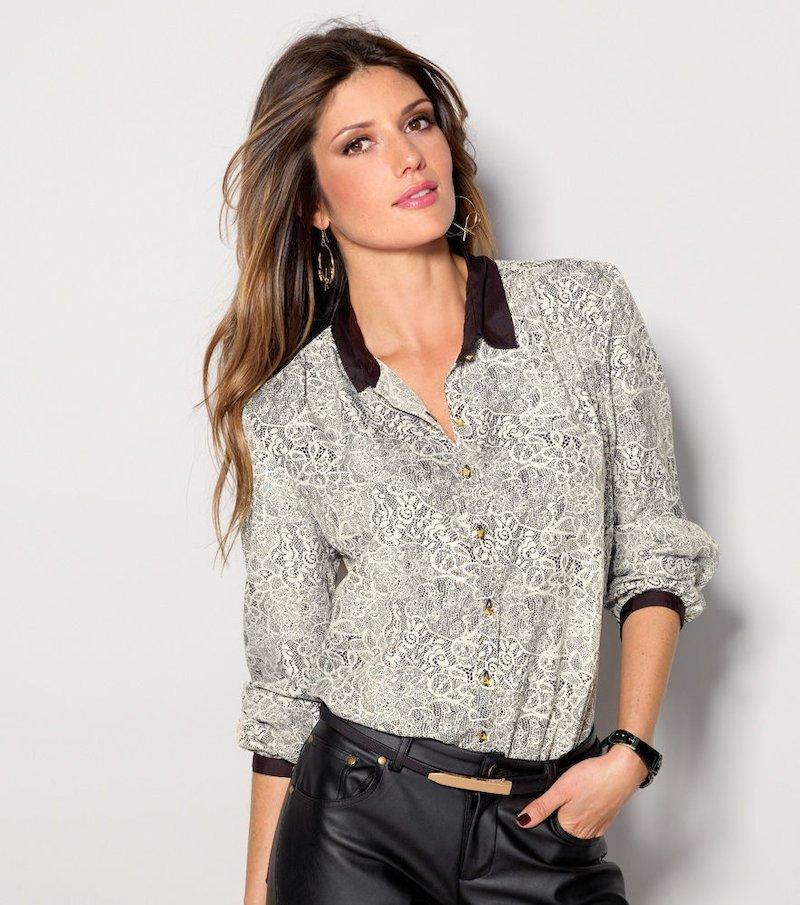 Camisa mujer manga larga estampada