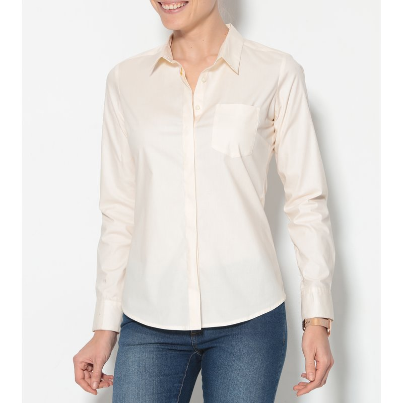 Camisa mujer manga larga de suave algodón popelín