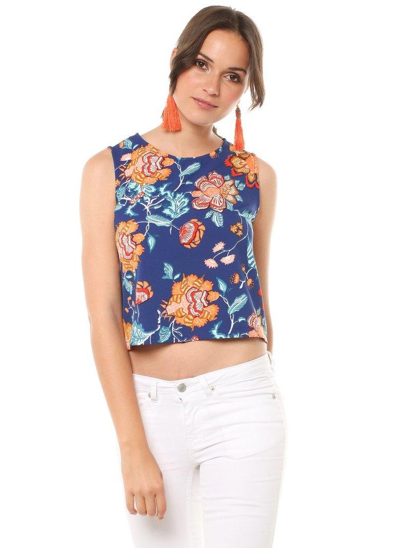 Blusa corta top mujer sin mangas estampado flores