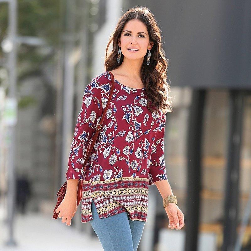 Blusa mujer manga estampado oriental con aberturas