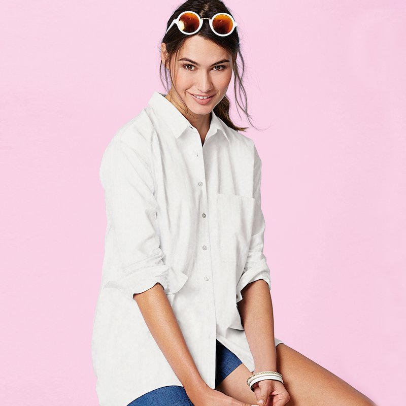 Camisa blusa larga oversize blanca de manga larga