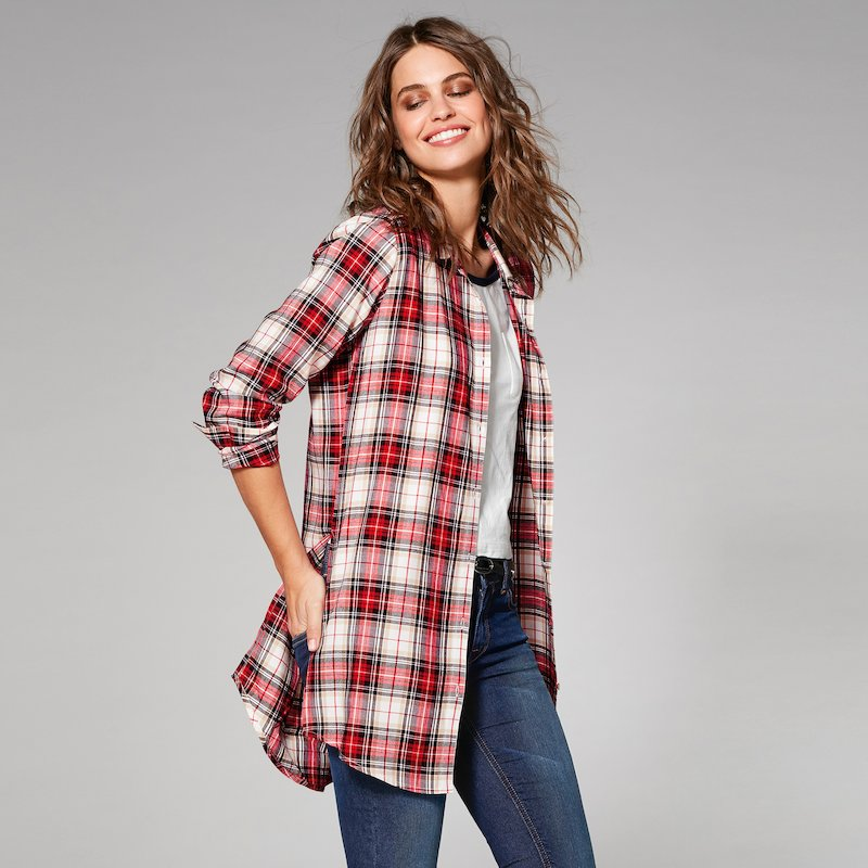 Camisa larga oversize mujer cuadros de viscosa