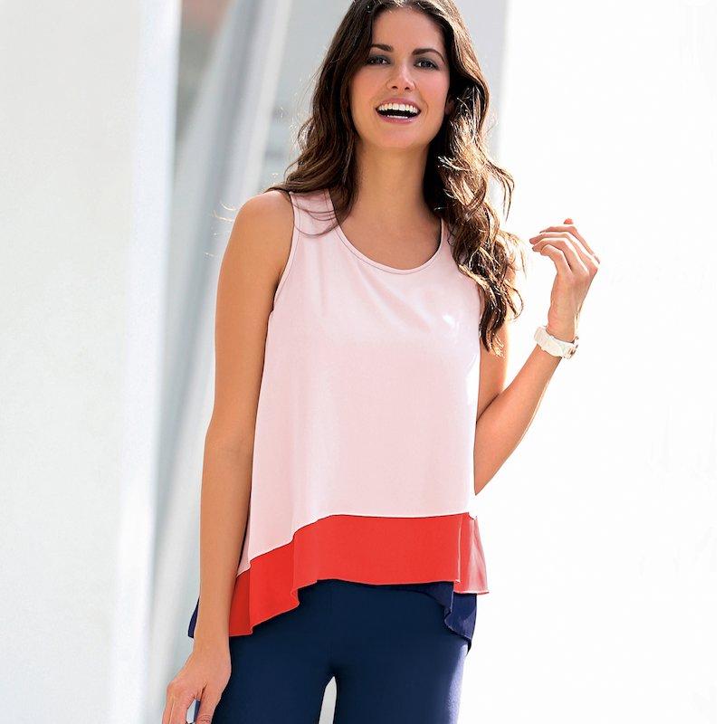Blusa sin mangas tricolor corte asimétrico