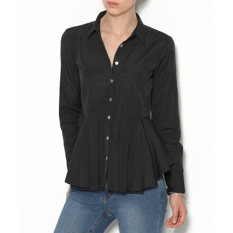 Camisa mujer cortada con tablas algodón elástico