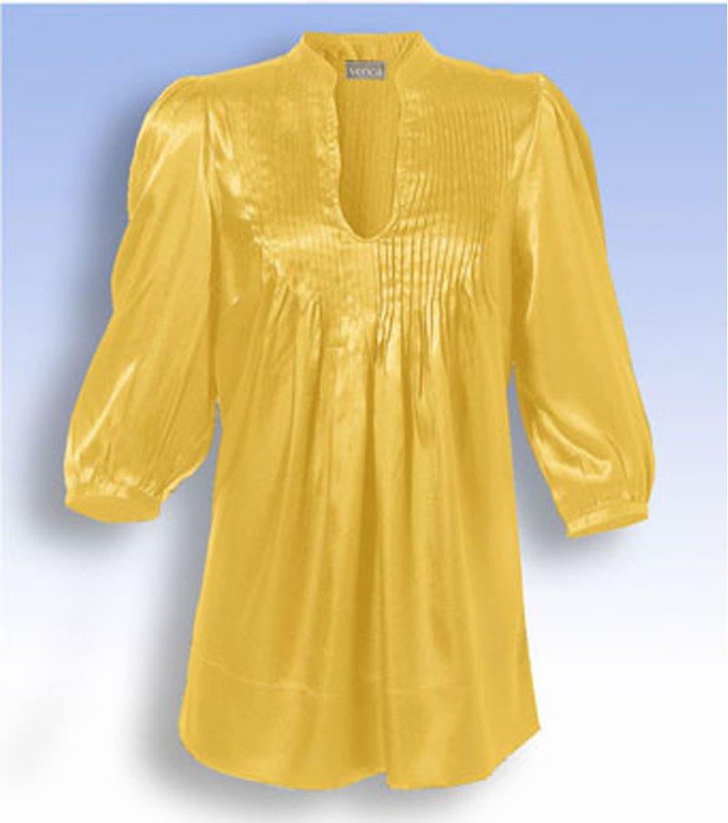 Blusa mujer de cuello mao con escote V - Amarillo