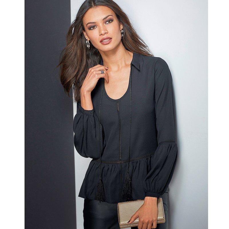 Blusa manga larga de vestir mujer encaje y volante