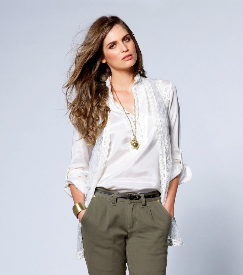 Camisa blusa mujer manga larga con blonda