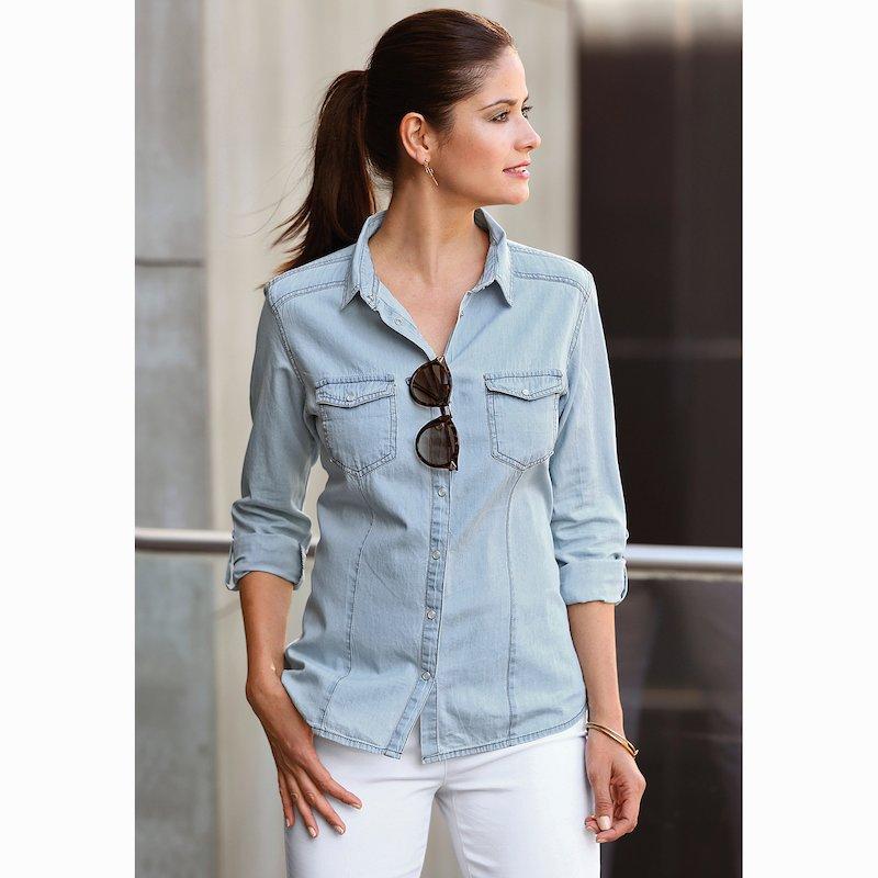 Camisa denim mujer manga larga corte clásico