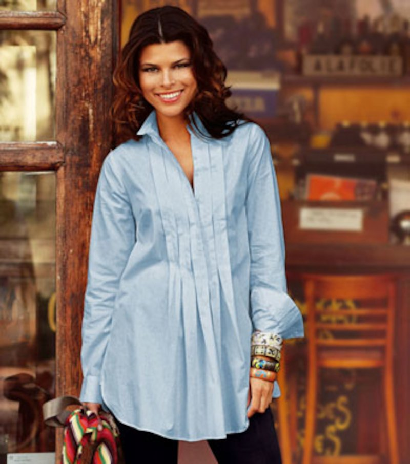 Camisa larga mujer de algodón con jaretas - Azul
