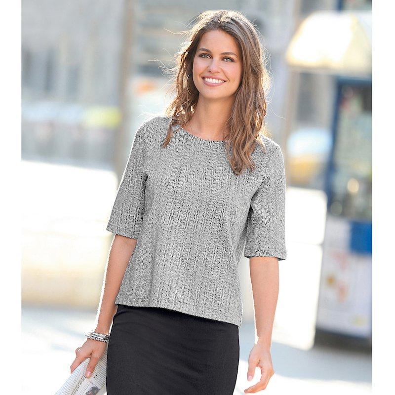 Top blusa mujer de manga corta en punto de espiga