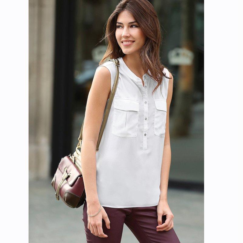 Blusa sin mangas mujer de cuello mao