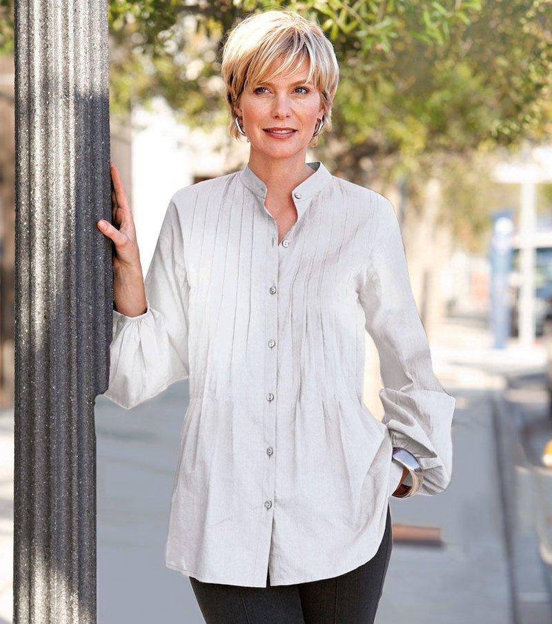 Camisa blusa mujer con jaretas de algodón