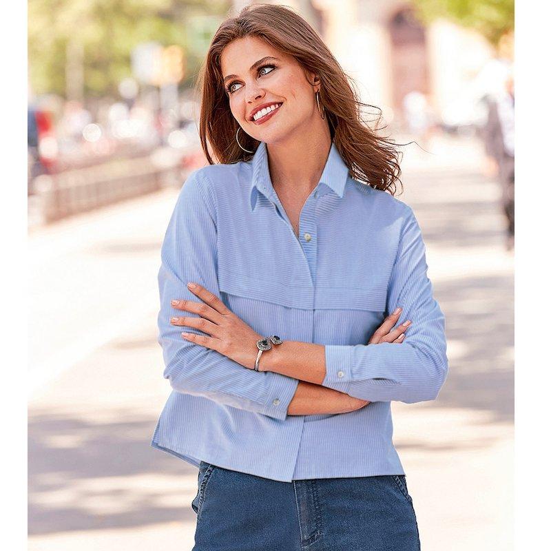 Camisa manga larga con canesú rayas popelín