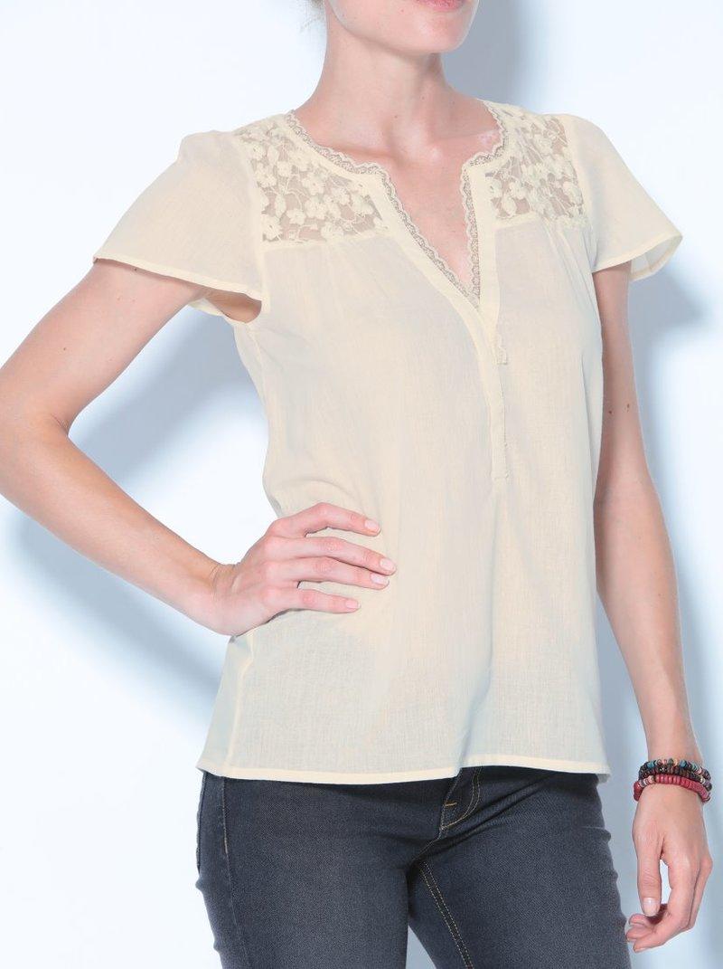 Blusa de manga corta con rejilla bordada y encaje
