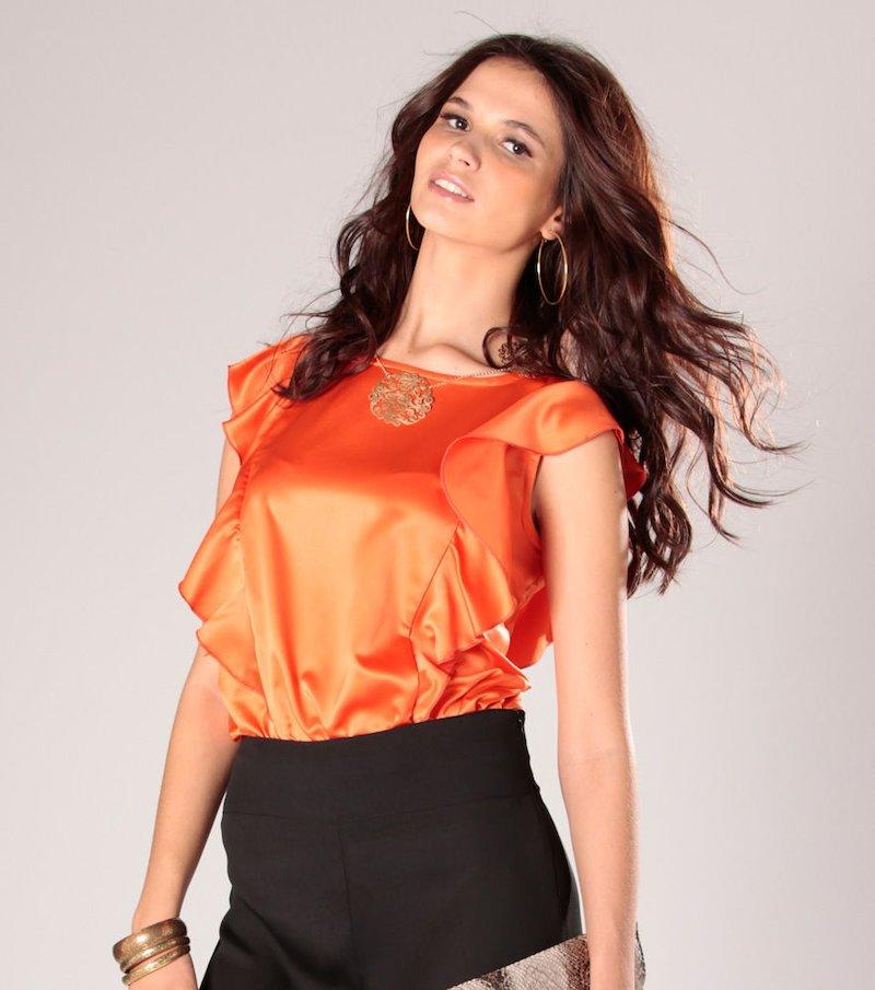 Blusa mujer con volantes de satén - Naranja