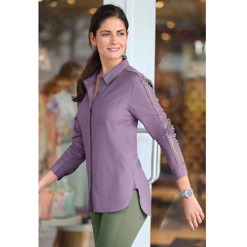 Camisa mujer con vainica y guipur en algodón popelín - Lila