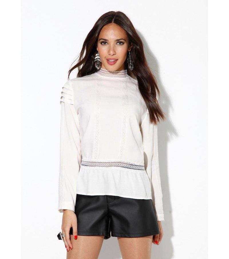 Blusa mujer manga larga con plisado y puntilla - Beige