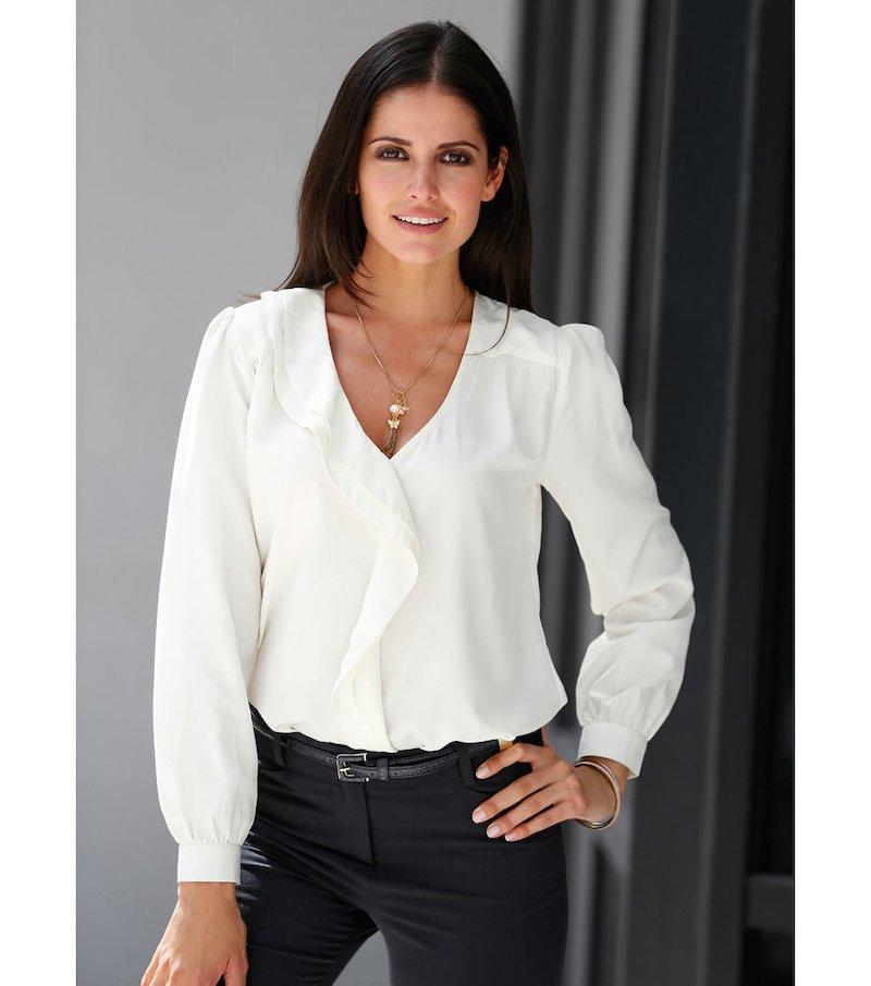 Blusa mujer manga larga con volantes