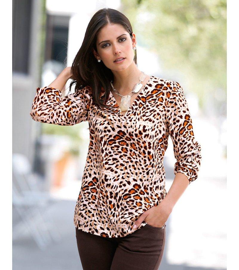 Blusa mujer manga larga  estampado leopardo