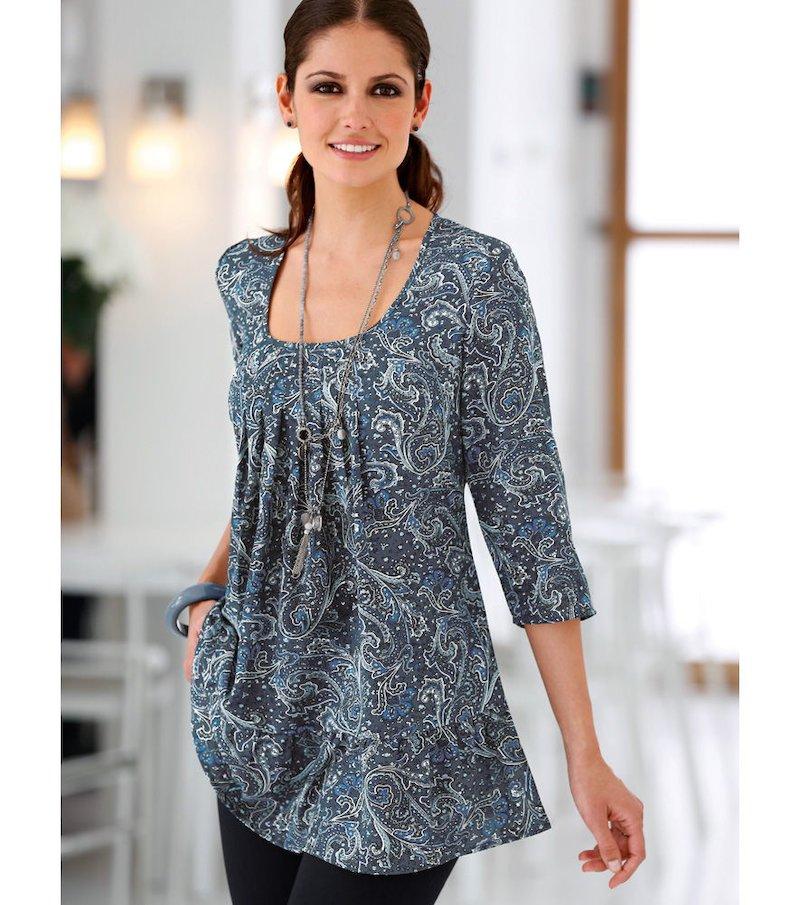 Blusa túnica mujer manga 3/4 estampada