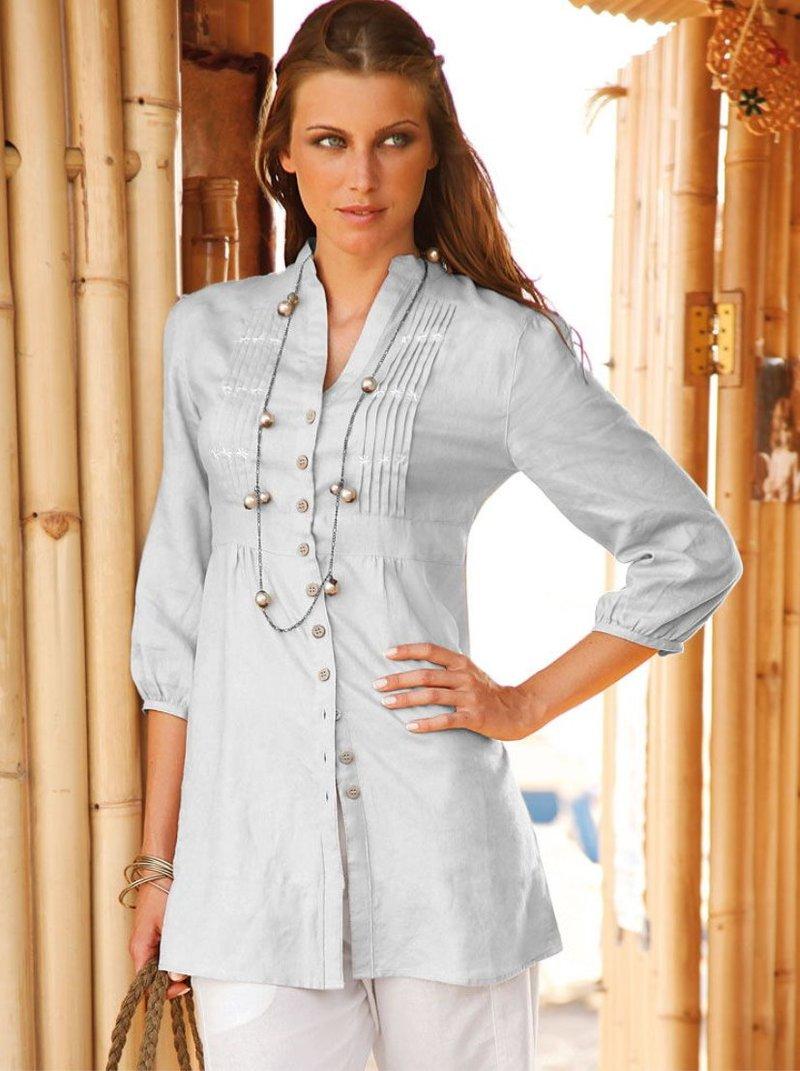 Camisa larga mujer manga 3/4 con jaretas y bordado