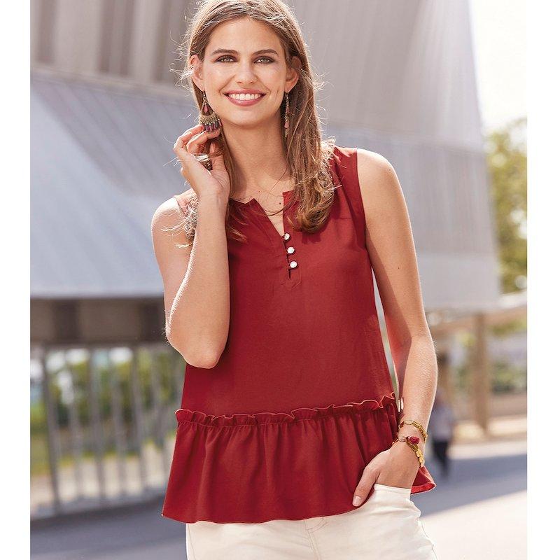 Blusa sin mangas mujer de crepe con fruncido - Marrón