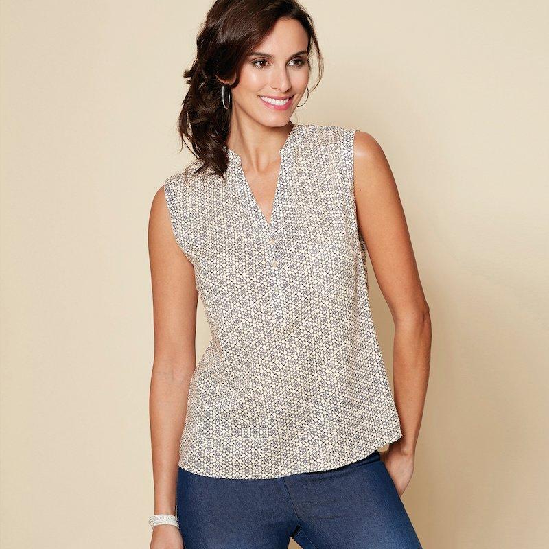 Blusa estampada de mujer sin mangas con bolsillo