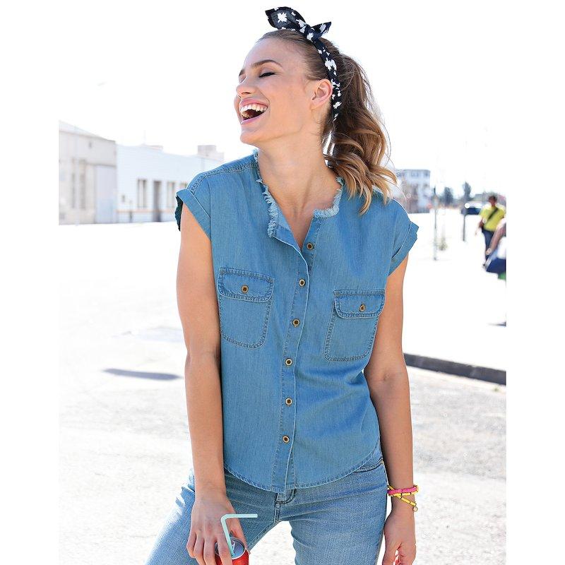 Camisa vaquera mujer escote deshilachado - Azul