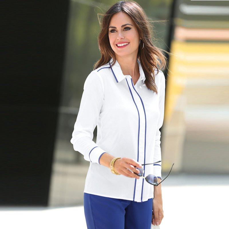 Blusa mujer manga larga con vivos contraste bicolor