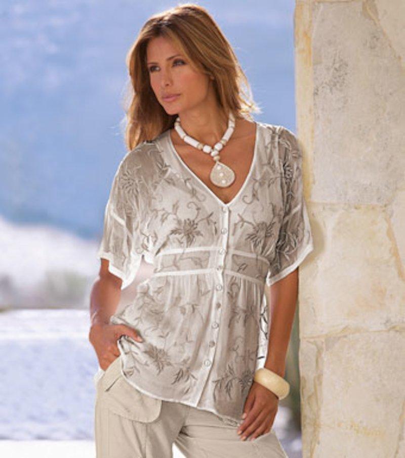 Blusa larga mujer de manga corta bordada - Beige