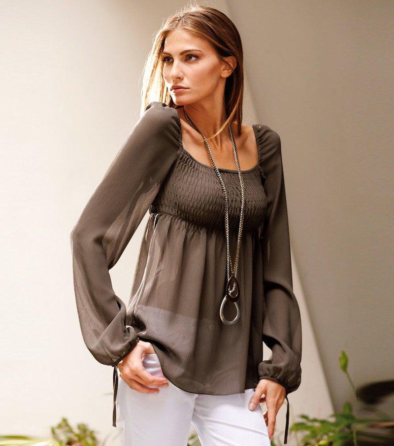 Blusa mujer manga larga semitransparente - Marrón