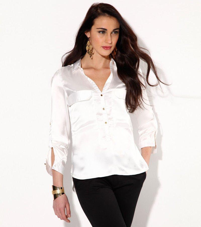 Blusa mujer manga regulable con bolsillos