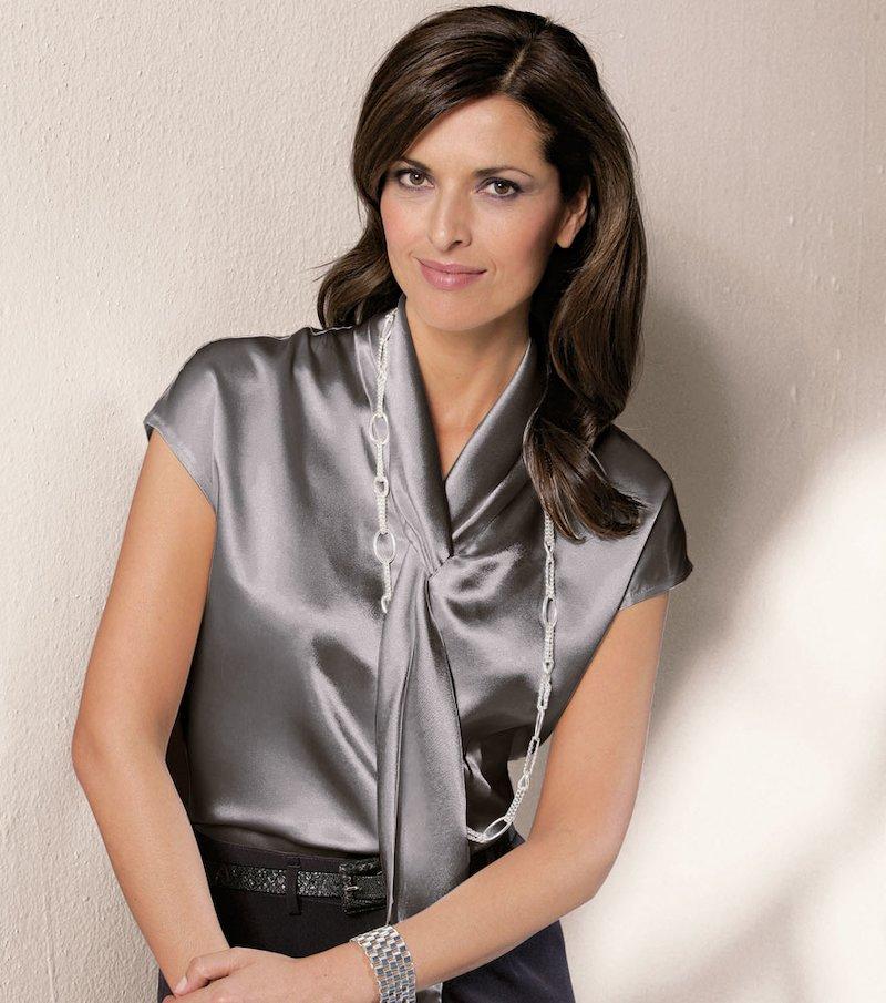 Camisa blusa mujer satén manga corta