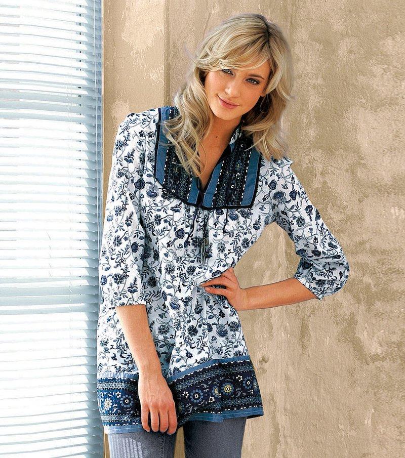 Camisa mujer manga 3/4 escote caftan de algodón - Azul