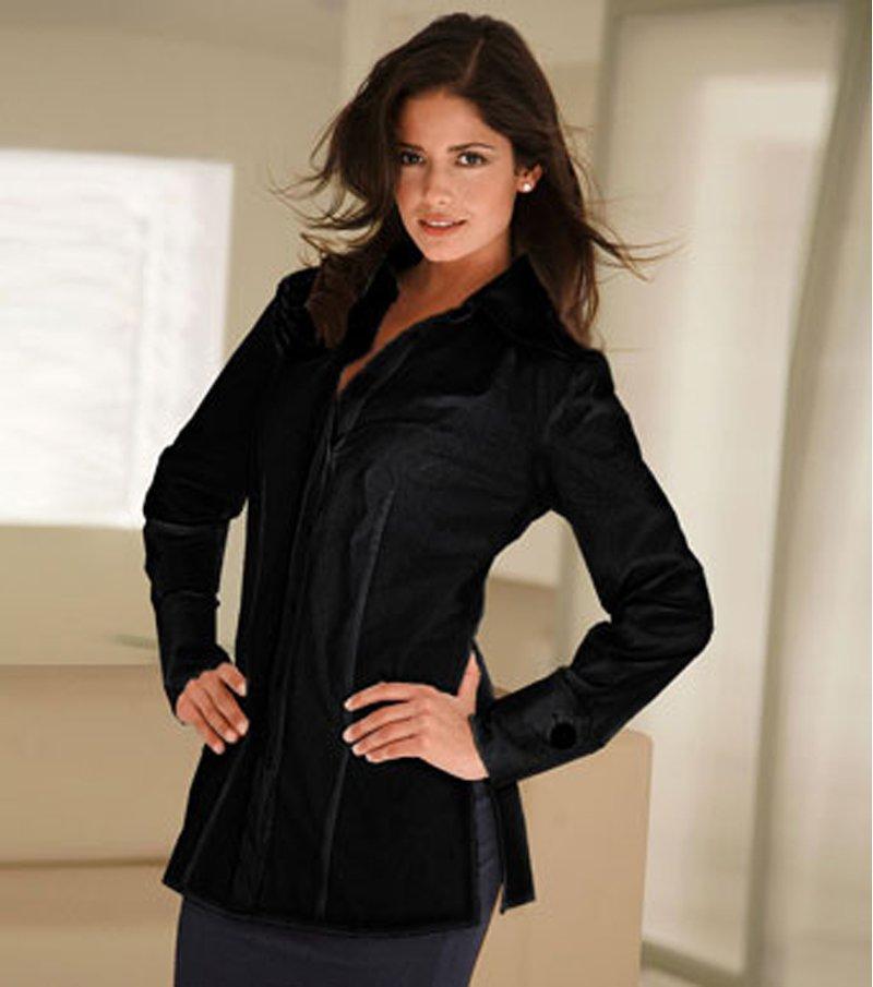 Camisa mujer con botones de fantasía de algodón - Negro