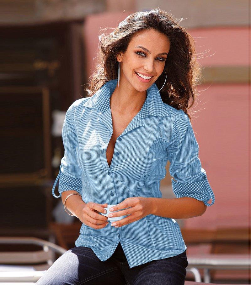 Camisa mujer manga larga de algodón - Azul