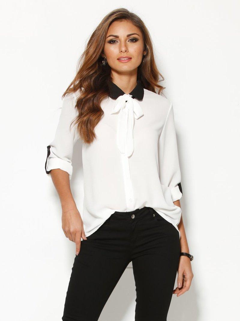 Camisa de mujer en blanco y negro manga regulable