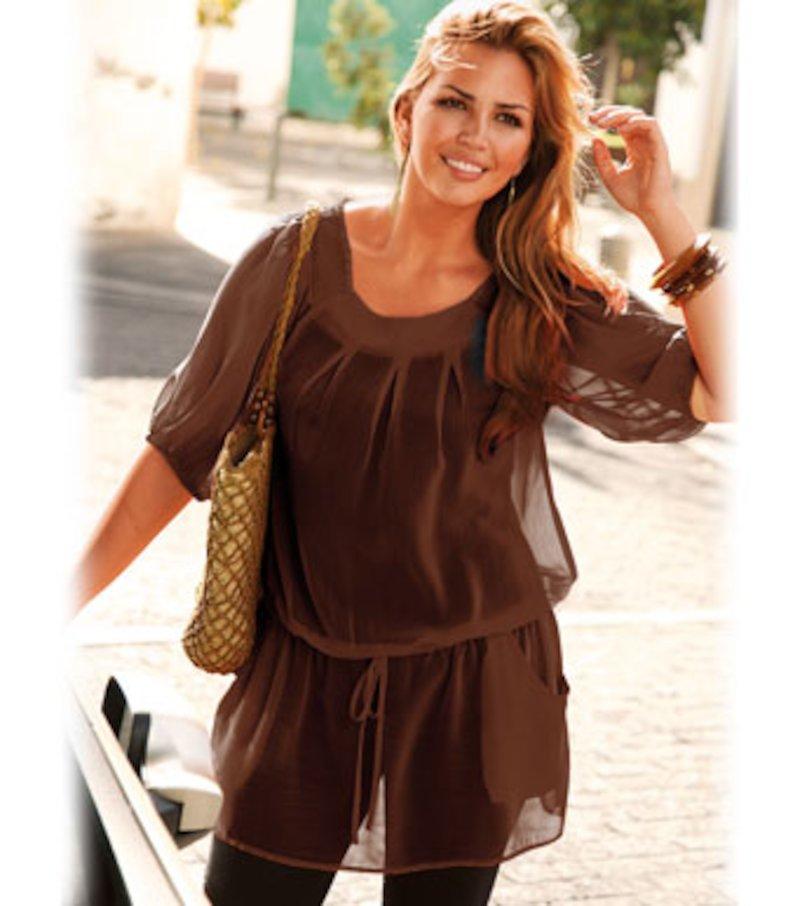 Blusa túnica mujer manga corta semitransparente